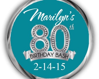 Diamond 80th Birthday Hershey Kisses Stickers - Personalized Birthday Kiss Favors