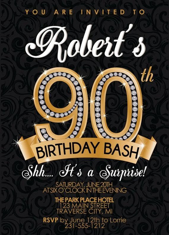 90th Birthday Invitation Diamond Milestone by AnnounceItFavors