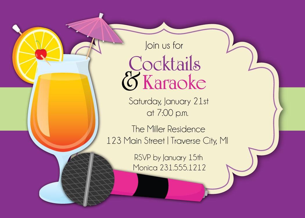 Karaoke Invitation Cocktails & Karaoke Party Invite for