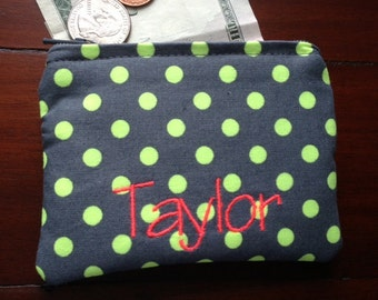 Personalized Coin Purse or Card Case in Neon Yellow Polka Dot