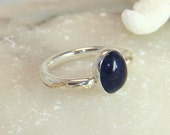 A Lapis lazuli classic ring. Size 10, silver ring. Blue gemstone. Silver & gold ring. Handmade.  FREE SHIPPING.