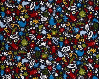 Michael Miller Fabric - Don't Eat Me - Navy - from a FQ to a Metre