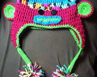 Neon Sock monkey hat child/teen-made to order