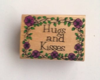 Wood Mounted Rubber Stamp For Scrapbooking & Rubber Stamping...Hugs and Kisses