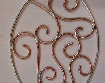 Sterling Silver and Copper Oval Pendant