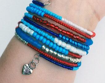 patriotic with a twist beaded bracelet