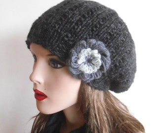 Dark Gray Wool hat with flower. Hand knitted hat. Beautiful Female Hat . Slouchy Hat.