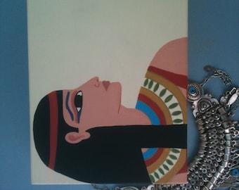 Hathor Treasure Box, Egyptian Goddess Hathor on a Hand Painted Wooden Jewelry Treasure or Trinket Box in Ancient Egyptian Style Art