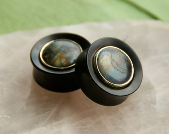 Ebony plugs with Labradorite Inlays