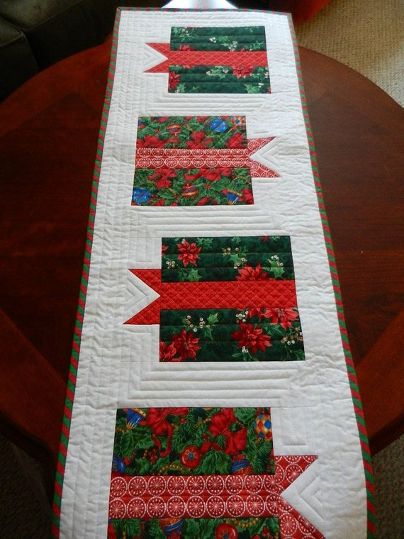 Custom Quilted Christmas Table Runner By Heartfeltstitchery