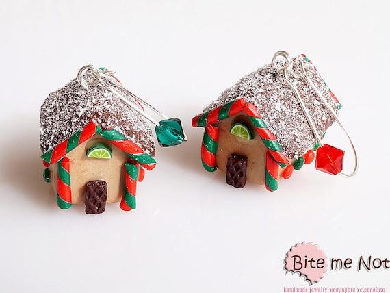 Christmas Gingerbread Houses - Miniature Food Jewelry, Dangle Earrings, Mini Sweets, Kawaii Jewelry, Black Friday Sale, Polymer Clay Charm