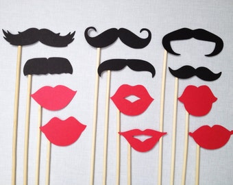 12 Mustaches & Red Lips - Photo Booth Props