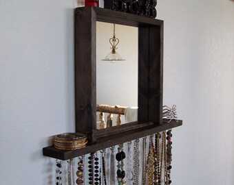 Wall hanging Necklace Organizer With Shelf And Mirror