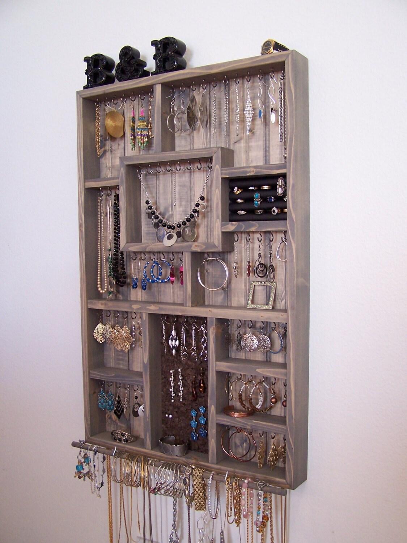 Triangle Jewelry Organizer - Wooden Wall Hanging Jewelry ... |Wooden Wall Jewelry Organizer