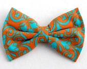 Boys Bow Tie Orange Turquoise Teal Blue Floral, Newborn, Baby, Child, Little Boy, Great for Special Occasion Wedding or Photo Prop