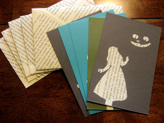 Alice in Wonderland and Cheshire Cat Silhouette Literary Book Print Notecard with Envelope- Set of 5