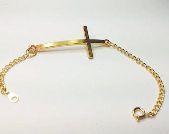 Golden Sideway Cross Crucifix Bracelet