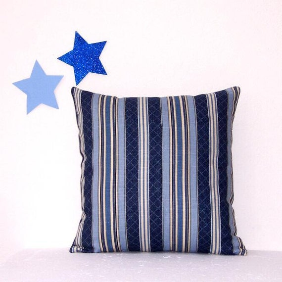 Blue Striped Decorative Pillows : Blue Cream Striped Pillow Cover Decorative 18 x