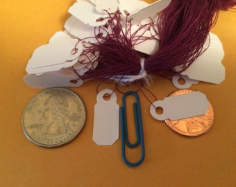 Jewelry Price Tags - 300 Tags - White with Purple Strings - Price Tags - Jewelry Tags - Gift Tags - Craft Supply