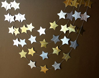 Gold & Silver garland, Gold star garland, Silver star garland, Metallic garland, Paper garland,Party decor, Christmas decor, M-ES-OYP0001