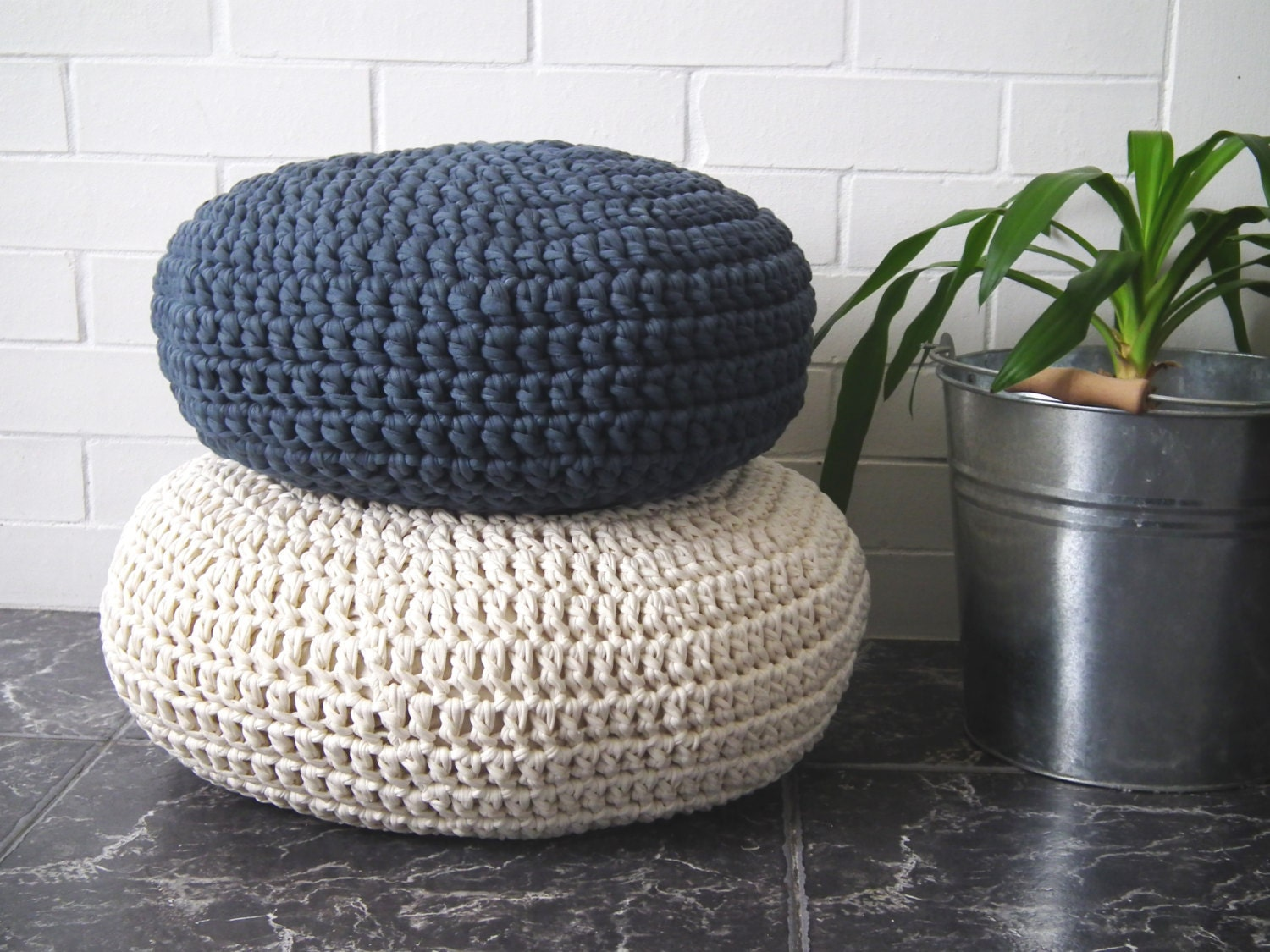 Modern Knitted Pillow : Crochet Floor Cushion-Meditation Floor Pillow-Stuffed Zafu