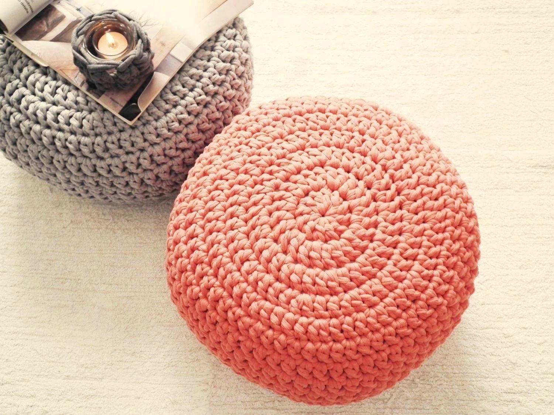 Crochet Ottoman : Coral Ottoman Nursery Footstool Coral Crochet Pouf by LoopingHome