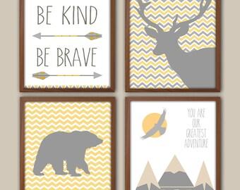 Chevron Nursery Decor - Be Kind Be Brave - Tribal Nursery - Adventure - Bear - Stag - Mountains - Nursery Quote - Tepee - Set Of 4