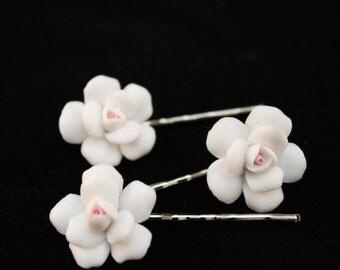 White Porcelain Rose with Pink Center Hair Pins/ Bridal/ Wedding/ Flower Girl