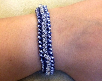 Navy Blue and White Seed Bead Tennis Bracelet with Swarovski Crystals