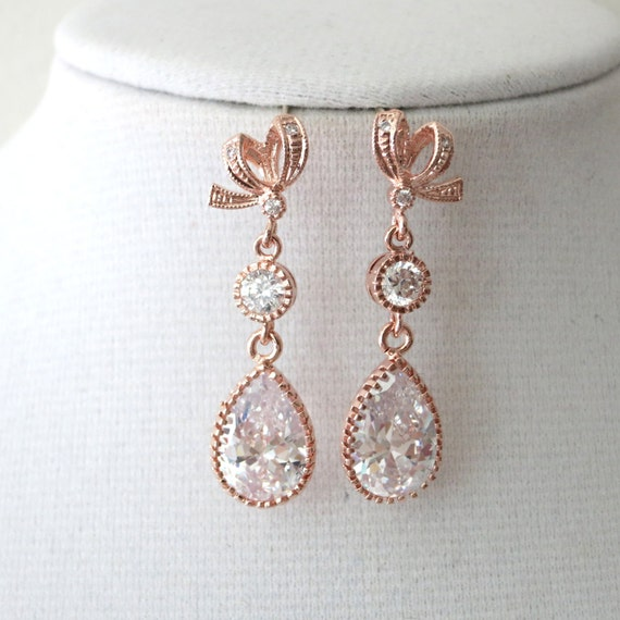 Rose Gold Cubic Zirconia Teardrop Earring - gifts for her, earrings, bridal gifts, drop, dangle, pink gold weddings, ribbon earrings, love