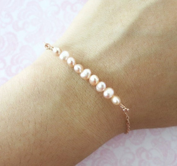 Simple Freshwater Pearls on Rose Gold FILLED bracelet - Nautical, strand of pink shade pearls, ocean lover beach weddings bridesmaid gifts