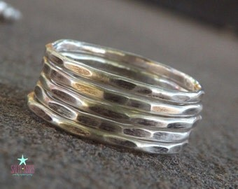 ONE Sterling Silver hammered stacking ring stackable stack stacker jewelry one ring band textured choose your quantity at checkout
