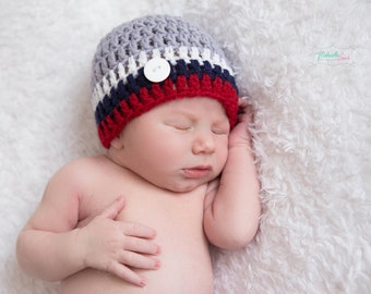 Baby Boy Hat, Crochet Baby Boy Hat, Striped Baby Hat, Newborn Striped Baby Hat, Button Baby Hat, Hospital Boy Hat, Baby Outfit, Newborn Hats