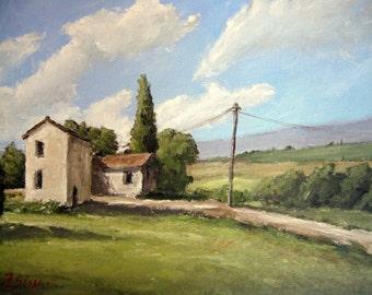 Original painting Italy, tuscany landscape, blue sky, trees, road, shadows, Sessa