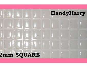 55 or 110 pieces -- Square  12mm Crystal Clear Epoxy Adhesive Square Stickers Dome Dots Bubble Scrapbook Scrapbooking 12mm epoxy squares