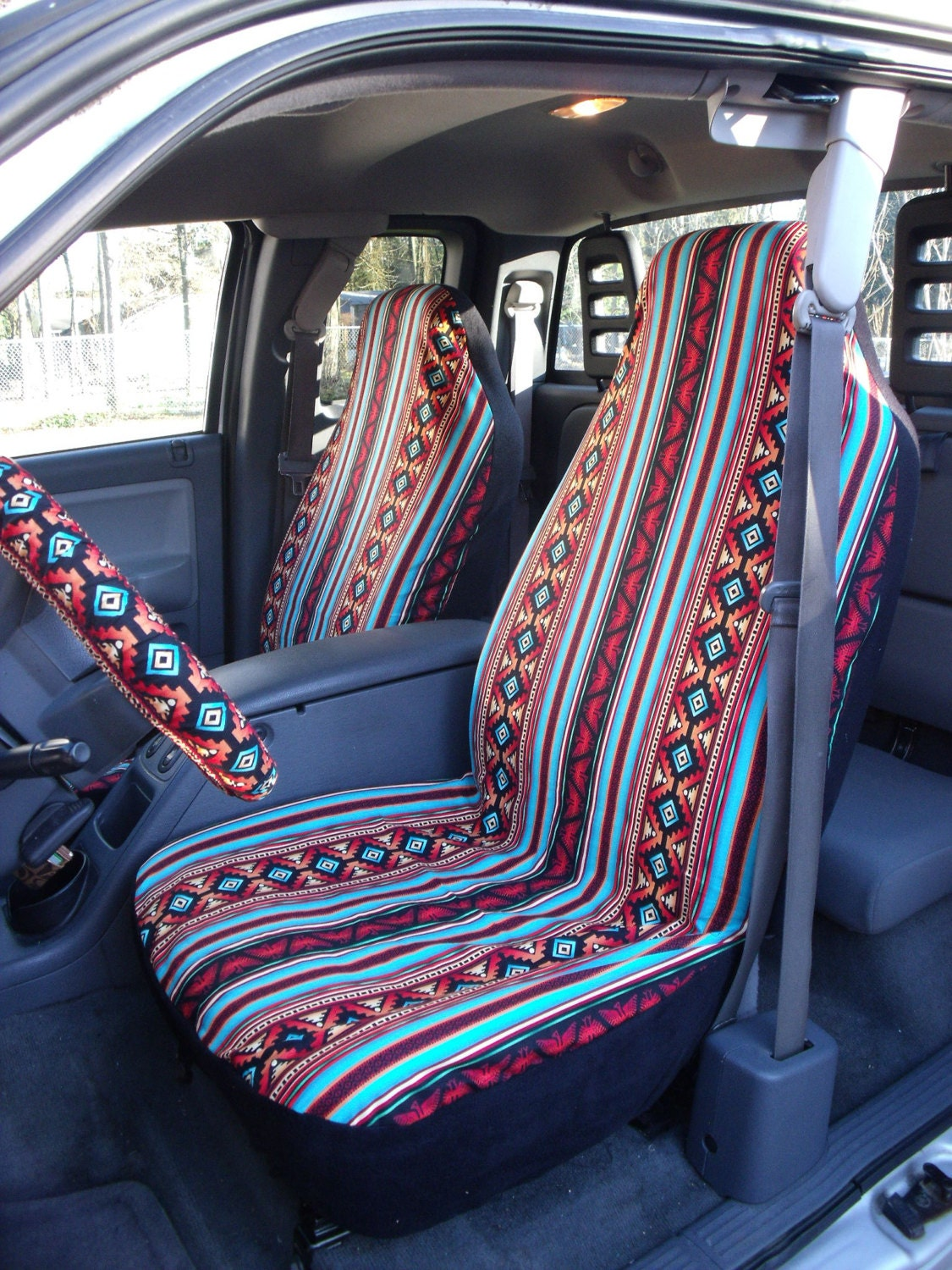 1 set of turquoise rust aztec strip print seat by chailinsews. Black Bedroom Furniture Sets. Home Design Ideas