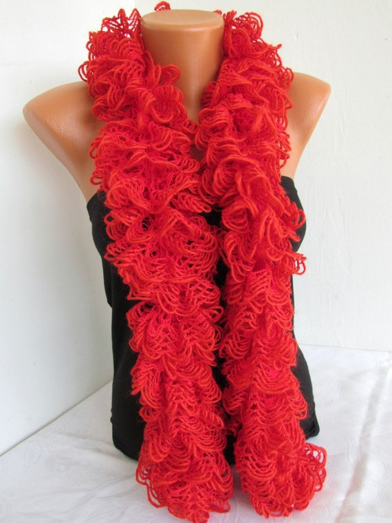 Knitting Patterns For Girls Cardigans : Curly Scarf Red Color for Women Ruffled Scarf by ChiaraBoutiqe