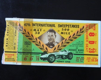 Vintage 1963 Indianapolis Indy 500 Motor Speedway Ticket Stubs from May 30 1963 / Indy 500 Ticket with Rain Check