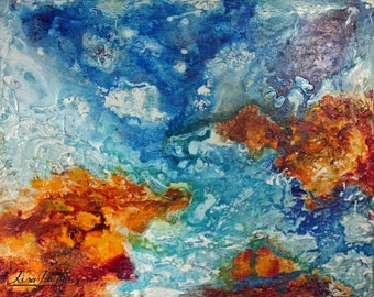 Blue Coastline - Abstract Limited Edition Mixed Media Painting on Canvas