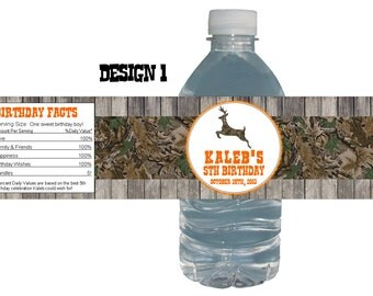 Hunting 15ct Water Bottle Labels Birthday Party Baby Shower Hunter party theme