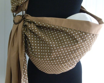 Baby Sling Ring ,Baby Carrier,Reversible Baby  Sling,Baby Wrap,Brown,White,Polka Dot