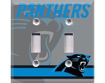 Carolina Panthers - Silver Double Light Switch Cover