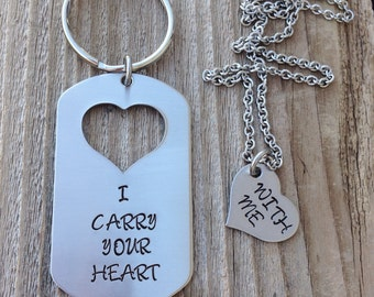 Custom military dog tag I carry your heart with me hand stamped dog tag and missing heart his and her set deployment gift jewelry