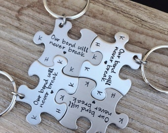 Puzzle piece Keychains hand stamped best friends, sisters , mother daughter gift  stamped initials wedding party gift jewelry