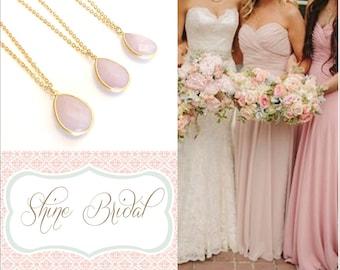 Pink Bridesmaid Jewelry Gold Necklace Pastel Pink Necklaces Blush Bridesmaid Jewelry Pink Wedding Jewelry Rose Quartz Bridal Jewelry