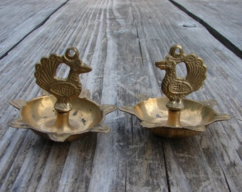 Two Vintage Handmaid Solid Brass unusual shape hanging decors / vintage housewares / Rustic Kitchen Decor / cottage decor