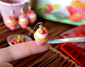 Strawberry cupcake polymer clay earrings