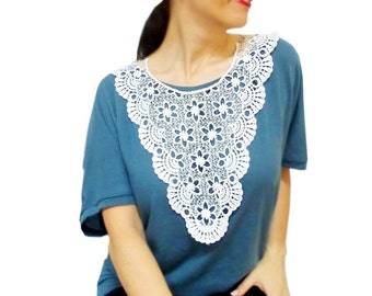Lace Necklace, White, Crochet Big Bib Necklace, High Society Jewelry, Top wear, Victorian Gothic, Wedding Necklace