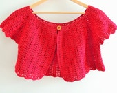 Caplet - Bolero - Women's Size Medium to Large in deep red - handmade crochet with short sleeves & wooden button - Bust 108 cm (42.5 in)