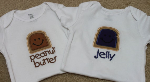 Twin Set of Embroidered Baby Onesies - Peanut Butter and Jelly
